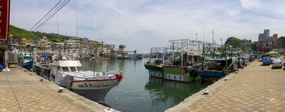 Panoramic view on the harbor in the city Wanli next to Yehliu park Stock Photography