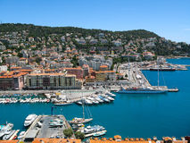 Panoramic view of the harbor in  the  city  Nice, France. Stock Photography
