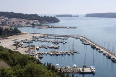 Panoramic view of the harbor and the sea stock images