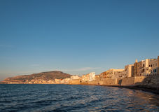 Panoramic view of the harbor in Trapani with colored old houses, Sicily Stock Images