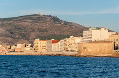 Panoramic view of the harbor in Trapani with colored old houses, Sicily Stock Photography