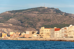 Panoramic view of the harbor in Trapani with colored old houses, Sicily Royalty Free Stock Photography