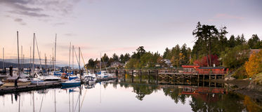 Panoramic view of harbour and marina at Brentwood Bay, BC at sun Stock Image