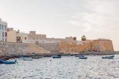 Panoramic view of the harbour in Trapani with fishing boats, Sicily, Italy stock photography