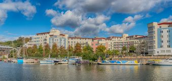 Panoramic view of Harbourside area of Bristol Docks stock photo
