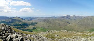 Panoramic view of Harter Fell and Scafells, Lake District Royalty Free Stock Photos