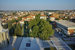 Panoramic view of Haskovo from Monument of Virgin Mary, Bulgaria Stock Photos