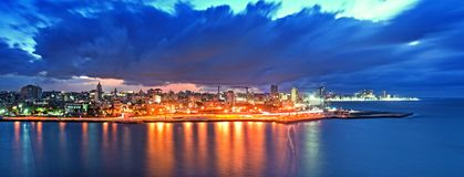 Panoramic View of Havana city and bay at night fell. In cuba Stock Photos