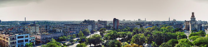 Panoramic view of Havana city skyline from Saratoga Hotel near C. Entral Park in Cuba Royalty Free Stock Photo