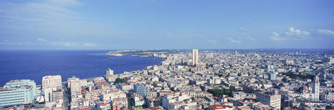 A panoramic view of Havana, Cuba with ocean Royalty Free Stock Images