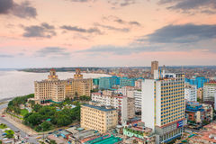 Panoramic view of Havana at sunset. With a view of the Vedado neighborhood and the buildings next to the Malecon seawall Royalty Free Stock Photos