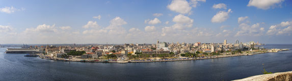 Panoramic view of havana waterfront Royalty Free Stock Images