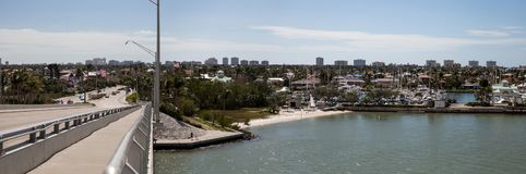 Panoramic view headed onto Marco Island, Florida. From Collier Boulevard 951 with the bay ocean view stock image