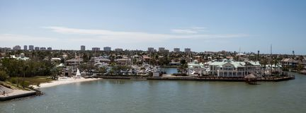 Panoramic view headed onto Marco Island, Florida. From Collier Boulevard 951 with the bay ocean view royalty free stock images