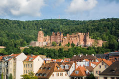 Panoramic view of Heidelberg castle over the tile roofs of old town from Carl Theodor bridge Stock Image