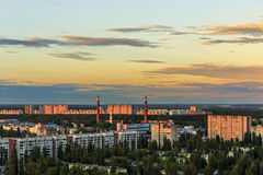 Panoramic view from a height or aerial view from roof top to sleeping areas of the city of Voronezh at sunset, cityscape Royalty Free Stock Photos