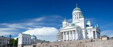 Helsinki Cathedral and Statue Of Emperor Alexander II, Finland stock photography