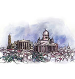The panoramic view of Helsinki watercolor Stock Photos
