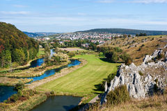 Panoramic view of Herbrechtingen and the river Brenz from the hillside. Panoramic, bird's eye view of Herbrechtingen and the river Brenz in the valley ( royalty free stock photo