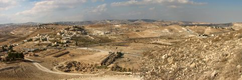 Panoramic View From Herodian. The villages of the desert in Israel stock photos