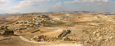 Panoramic View From Herodian. The villages of the desert in Israel stock photography