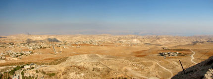 Panoramic View From Herodian. The villages of the desert in Israel royalty free stock photography