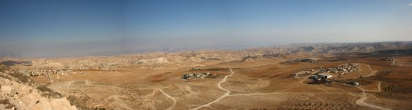 Panoramic View From Herodian. The villages of the desert in Israel royalty free stock image