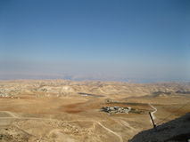 Panoramic View From Herodian. The villages of the desert in Israel royalty free stock photos