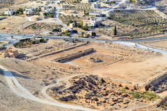 Panoramic View From Herodian. The villages of the desert in Israel royalty free stock images