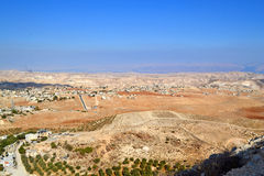 Panoramic View From Herodian. The villages of the desert in Israel stock photo