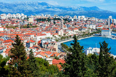 Panoramic view from high on Croatian city of Split Royalty Free Stock Images