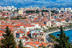 Panoramic view from high on Croatian city of Split Royalty Free Stock Photos
