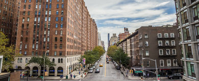 Panoramic view from the high line in Chelsea, New York Stock Images