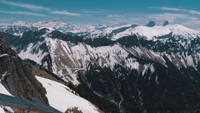 Panoramic view from the High Mountain to Snowy Peaks in Switzerland Alps. Rochers-de-Naye. stock footage