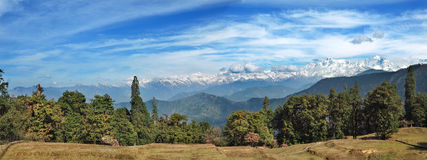Panoramic view of the high mountains in the Himalayas, India Stock Image
