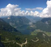 Panoramic view of high mountains and a lake Royalty Free Stock Photography