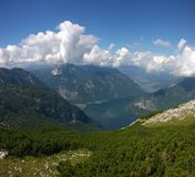 Panoramic view of high mountains and a lake Royalty Free Stock Image