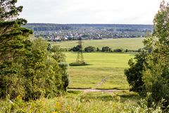 Panoramic view from a high point to the fields. And villagesn stock image