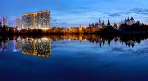 Panoramic view of high-rise buildings and the Izmaylovsky Kremli Royalty Free Stock Image