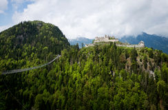 Panoramic view of Highline 179 bridge and Ehrenberg Castle Royalty Free Stock Photography