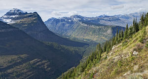 Panoramic View from Highline Trail, Glacier National Park Stock Photos