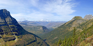 Panoramic View from Highline Trail, Glacier National Park Stock Image