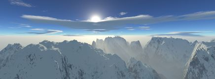 Panoramic view of a hight altitude mountain range with misty sun rays. Panoramic view of a High altitude mountain range with a misty sunset and extremely high stock illustration