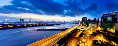 Panoramic view of the highway overpass at dusk in modern city Stock Photography