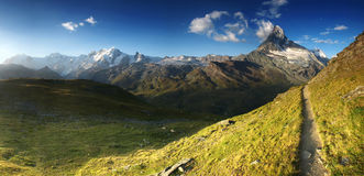 Panoramic view from hiking trail under Matterhorn, Switzerland. Landscape from Pennine Alps with Matterhorn, Switzerland Royalty Free Stock Images