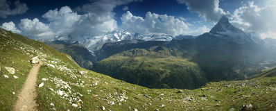Panoramic view from hiking trail under Matterhorn, Switzerland. Stock Photos