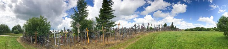 Panoramic view of Hill of Crosses in Siauliai, Lithuania.  royalty free stock images