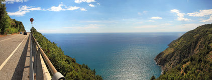 Panoramic view on hill and Mediterranean Sea. Royalty Free Stock Image