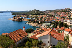 Panoramic View from the Hill on Sibenik Royalty Free Stock Photography