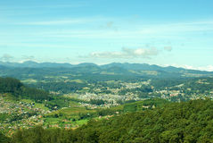 Panoramic view of hill station from a hill top. Beautiful landscape, with scenic panoramic view of a hill station shot from a hill top Stock Image